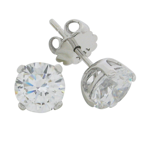 Brilliant 2 carat Diamond prong set Stud Earrings in Silver with White Gold Plating from Desert Diamonds