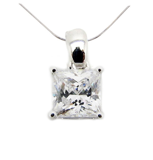 Princess 2 carat (5.5x5.5mm) Diamond Simulant 4 Prong Plain Clasp Pendant in Silver with White Gold Plating by Desert Diamonds