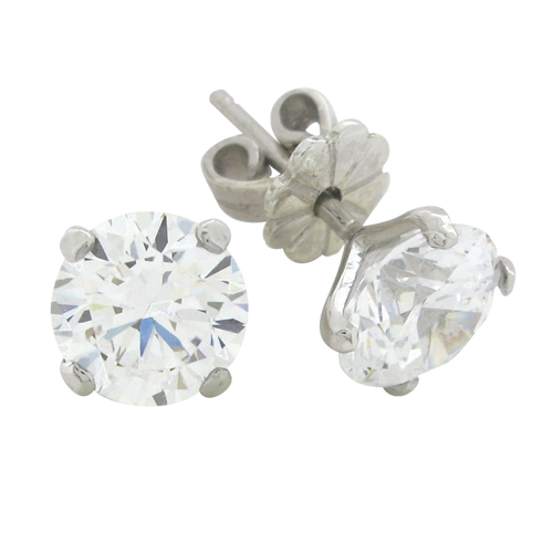 2ct brilliant cut diamond simulant stud earrings