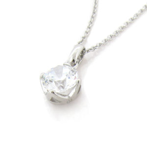 Brilliant cut 2 carat Solitaire Diamond 4-prong set Plain Clasp Pendant in Silver with White Gold Plating from Desert Diamonds