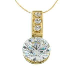 2ct diamond simulant yellow gold pendant