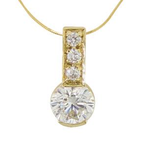 1ct yellow gold diamond simulant pendant