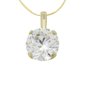 Brilliant 3 carat Diamond 4-Prong Solid Clasp Pendant in your choice of 14k or 18k Yellow Gold by Desert Diamonds