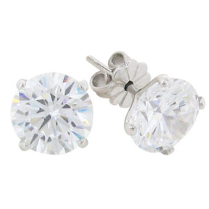 Brilliant 3.5 carat Diamond V-shaped Stud Earrings in Silver with White Gold Plating by Desert Diamonds