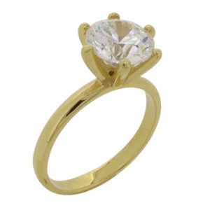 Brilliant Solitaire 4 carat (8mm) Diamond Simulant Ring in 14 or 18 carat White or Yellow Gold by Desert Diamonds