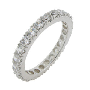 Wedding band inspired by Tiffany High quality cubic zirconia sterling silver925 white gold plating life time guarantee for all our stone please contact Sally Cowley +66818063501