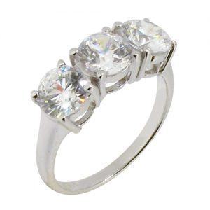 3 stone diamond simulant ring with 4 prong setting