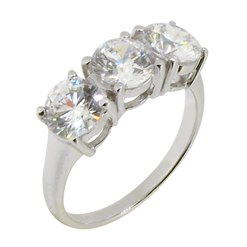 3 stone diamond simulant ring with 4 prong setting