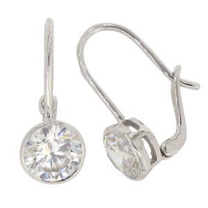 Brilliant 2carat 6.75 millimeter Diamond Simulant bezel set Hook Drop with lock