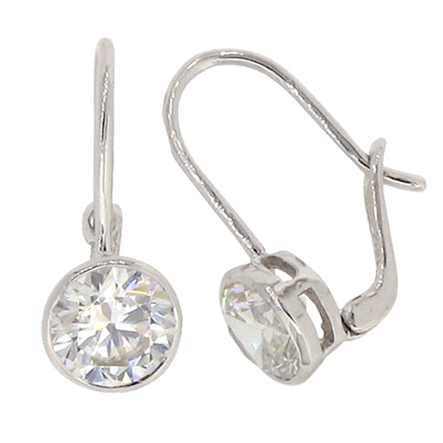 Brilliant 2carat  6.75 millimeter Diamond Simulant bezel set Hook Drop with lock