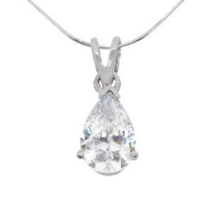 tear drop solitaire diamond simulant pendant