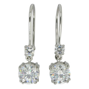 Brilliant 0.25 carat  3.25 millimeter with drop link 2 carat 6.75 millimeter Brilliant Diamond Simulant 4-prong set Shepherd Hook Drop