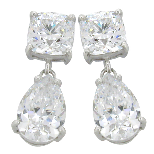 Cushion 4.5 carat 8 x 8 millimeter Diamond Simulant with 5 carat 8 x 12 millimeterTear drop prong set Drop Stud Earrings in Silver