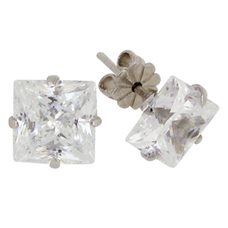 Princess 6 carat  8 x 8 millimeter Diamond Simulant 4-prong set Stud Earrings in Silver