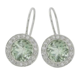 sea green coloured diamond simulant stone set in hook earrings