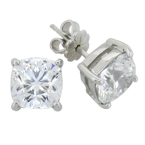 Cushion cut 4.5 carat  8 x 8 millimeter Diamond Simulant 4-prong set Stud Earrings in Silver