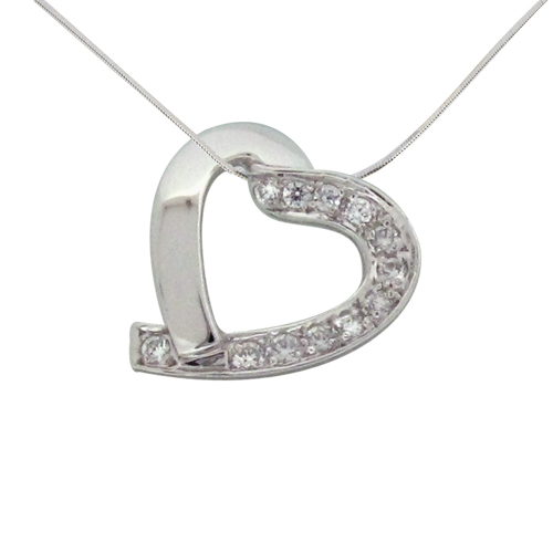 modern heart shaped pendant half solid silver half paved with diamond simulants