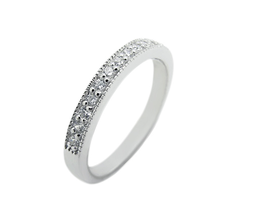 Half eternity wedding band inspired by Tiffany High quality cubic zirconia sterling silver925 white gold plating life time guarantee for all our stone silver925 white gold plating please contact Sally Cowley +66818063501