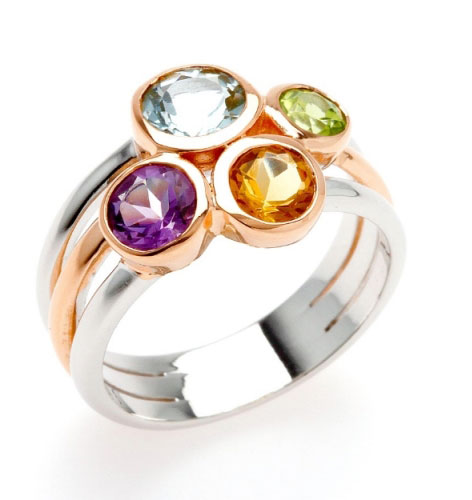 beautiful ring featuring 4 multi-coloured semi-precious stones including amethyst, citrine, blue topaz, peridot
