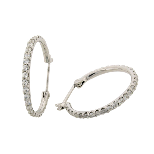 diamond simulant hoop earrings