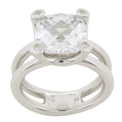 Large 10 millimeter cushion cut diamond simulant solitaire ring with double band fused at the bottom very contemporary ring from Desert Diamonds collection