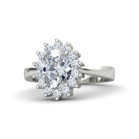 gorgeous large solitaire diamond ring in silver or white gold