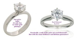 comparison of a cheaper diamond simulant versus a real diamond 1 carat, only 90 dollars at desertdiamondsireland.com