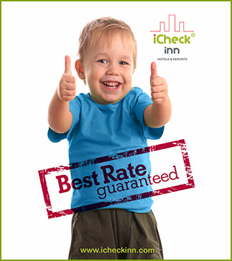 iCheck inn logo with young boy showing two thumbs up celebrated best rate guaranteed