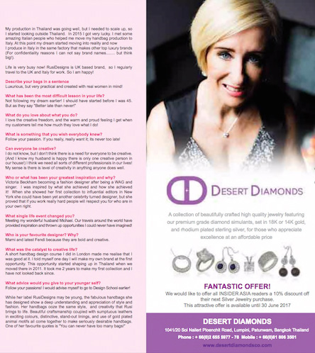 Desert Diamonds features in the international magazine Insider Asia