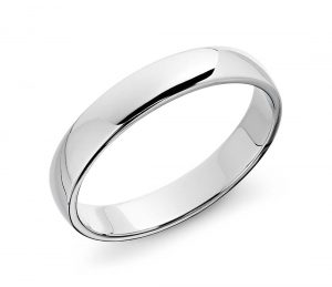 simple classic silver or solid white gold men's wedding band