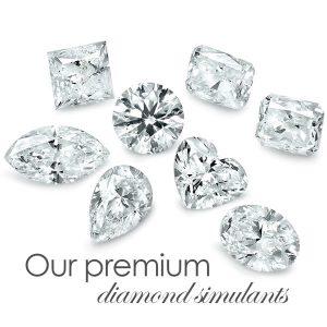 several premium cut diamond simulant stones baguette, emerald, heart, marquis, cushion, asscher, brilliant, princess, oval, teardrop