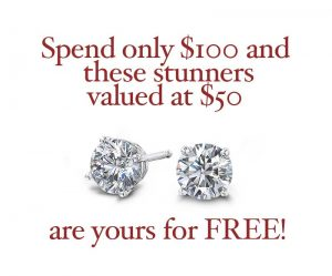 special christmas promotion - free diamond solitaire earrings in either white gold plating or sterling silver